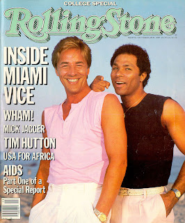 Rolling Stone cover (Issue #444, March 28, 1985), Don Johnson had been wearing a gun in a shoulder holster until it was removed digitally. Tubbs is lucky to have survived.