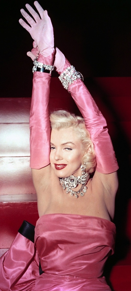 Marilyn Monroe wears her iconic hot pink dress in Gentlemen Prefer Blondes