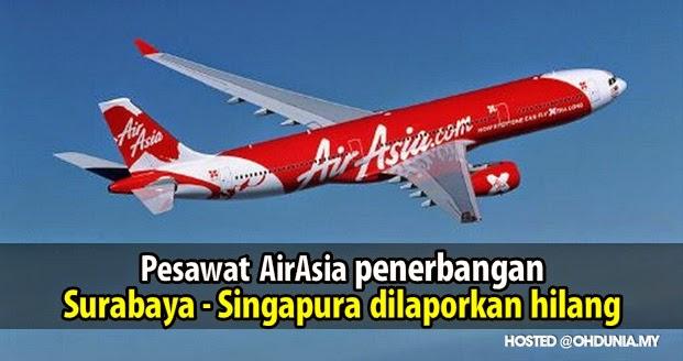 Pesawat AirAsia penerbangan QZ 8501 dari Surabaya ke Singapura hilang
