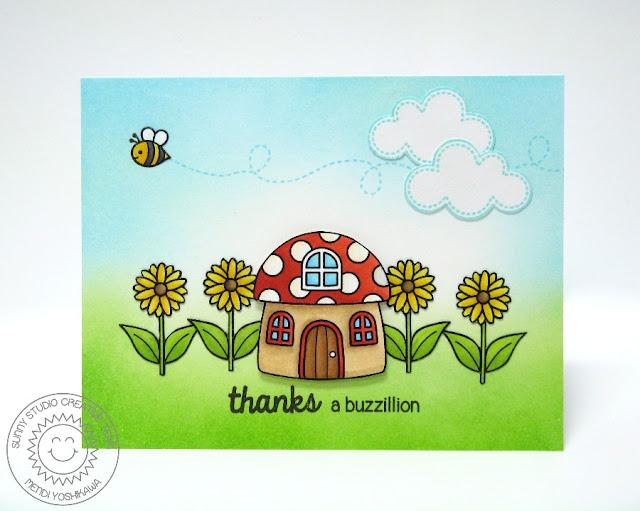 Sunny Studio Stamps Backyard Bugs Thanks A Buzzillion Card by Mendi Yoshikawa