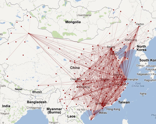 中国国内航线信息的可视化
