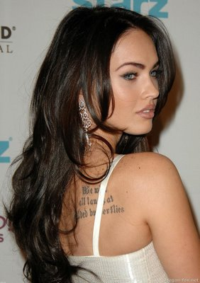 megan fox tattoos.  megan fox tattoos font