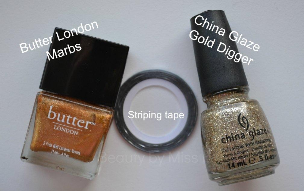 Butter London Marbs, striping tape, China Glaze Gold Digger