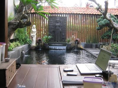 kolam ikan minimalis dibelakang rumah