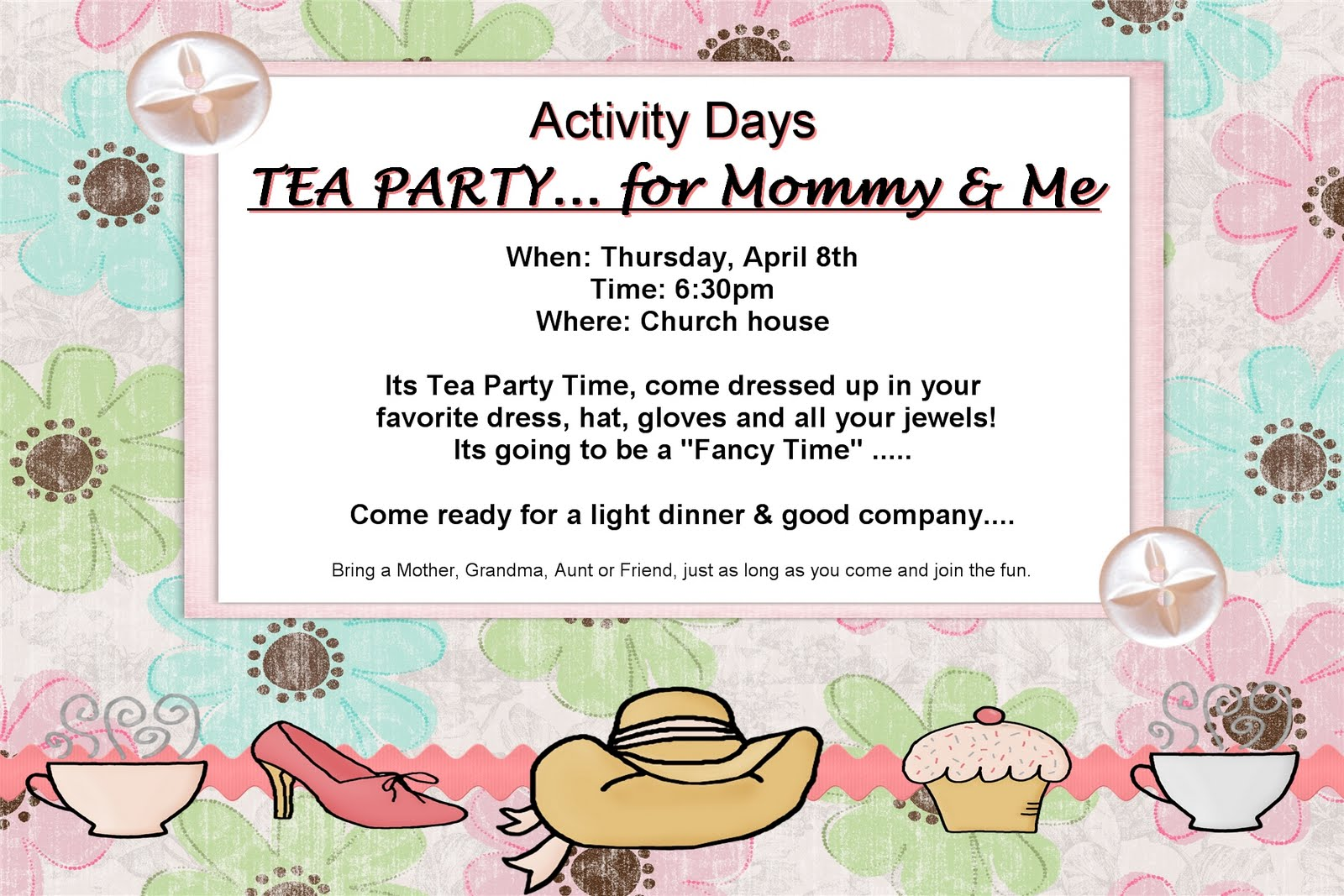 lds activity day ideas: its a tea party mommy and me style!