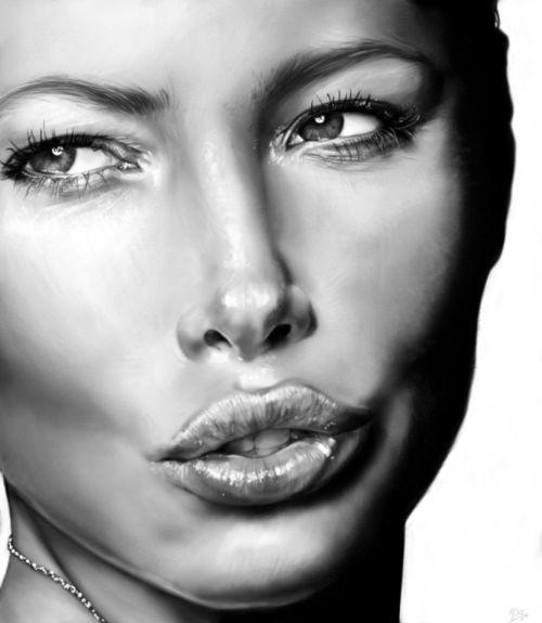 Innes McDougall pinturas digitais realistas fotografias modelos mulheres atrizes preto e branco Jessica Biel