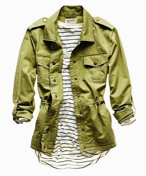 Gorgeous combination stripes and army light jacket