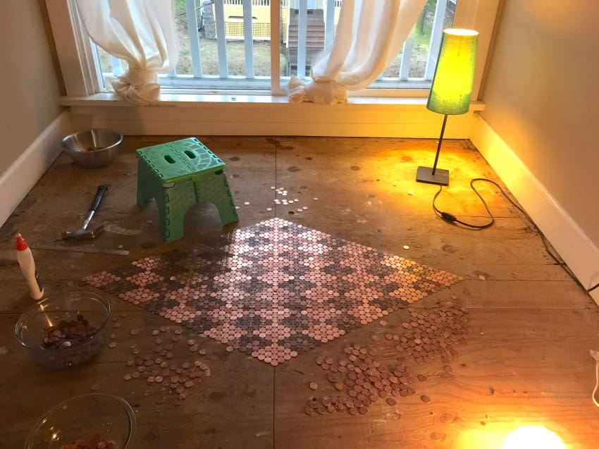 Penny tiled floor