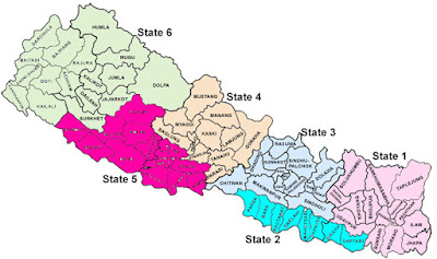 map of federal six states of  Nepal