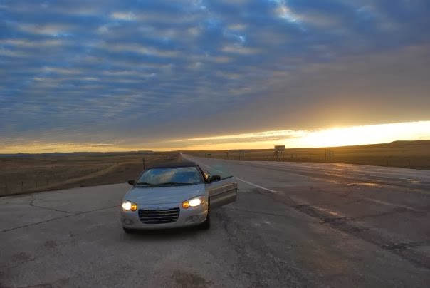 Capturing the sunrise in Wyoming during my road trip to California