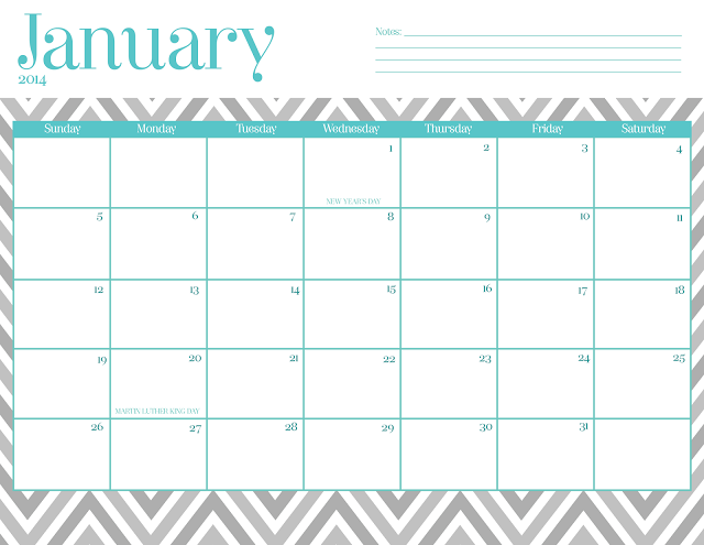 January 2016 Calendar Template Cute January 2014 Calendar Printable ...