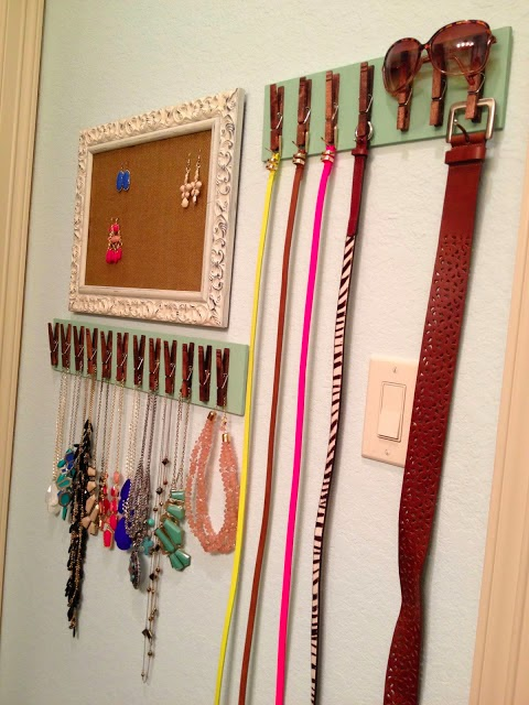 11 Ways to Organize with Clothespins - Accessories Organizer:: OrganizingMadeFun.com