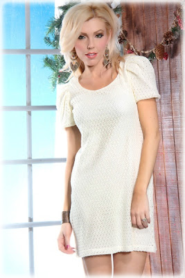 WHITE CROCHET SHORT SLEEVES SCOOP NECK SEXY MINI DRESS