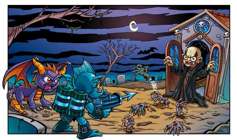 Jorge Santillan Dibujante: Skylanders, un cuadro del comic coloreado