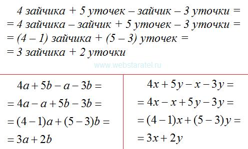 Пример с двумя буквами. Математика для блондинок.