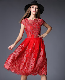 Black/Red New 2016 Spring Short Sleeve Glittering Embroidery Flare Party Dress