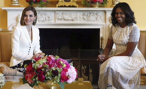 Queen Letizia And King Felipe Met With US President And The First Lady Michelle Obama