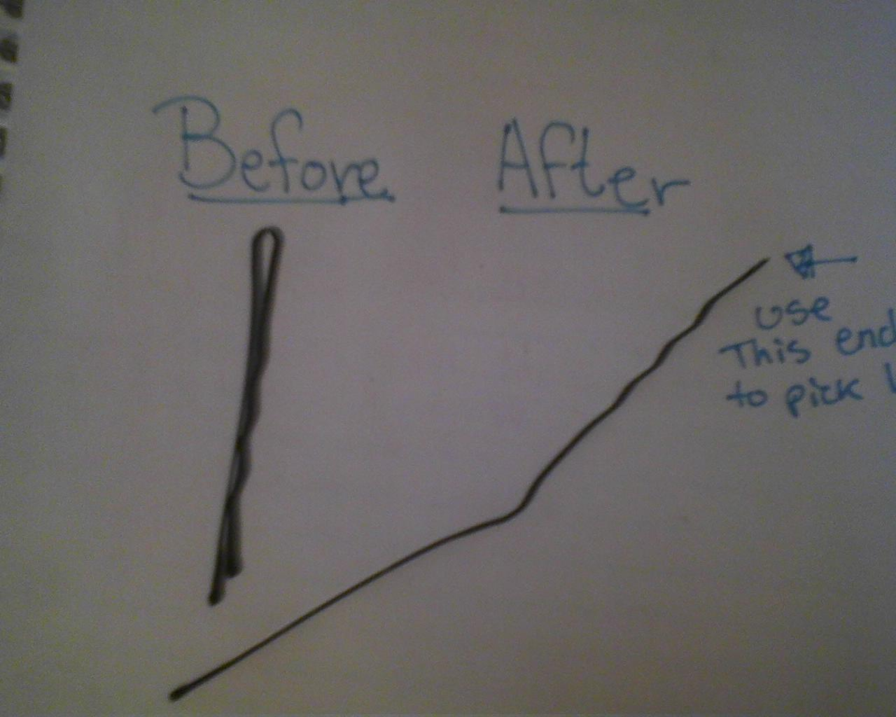 The before and after picture in creating a common lock picking tool