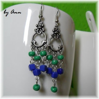 kolczyki zielony niebieski