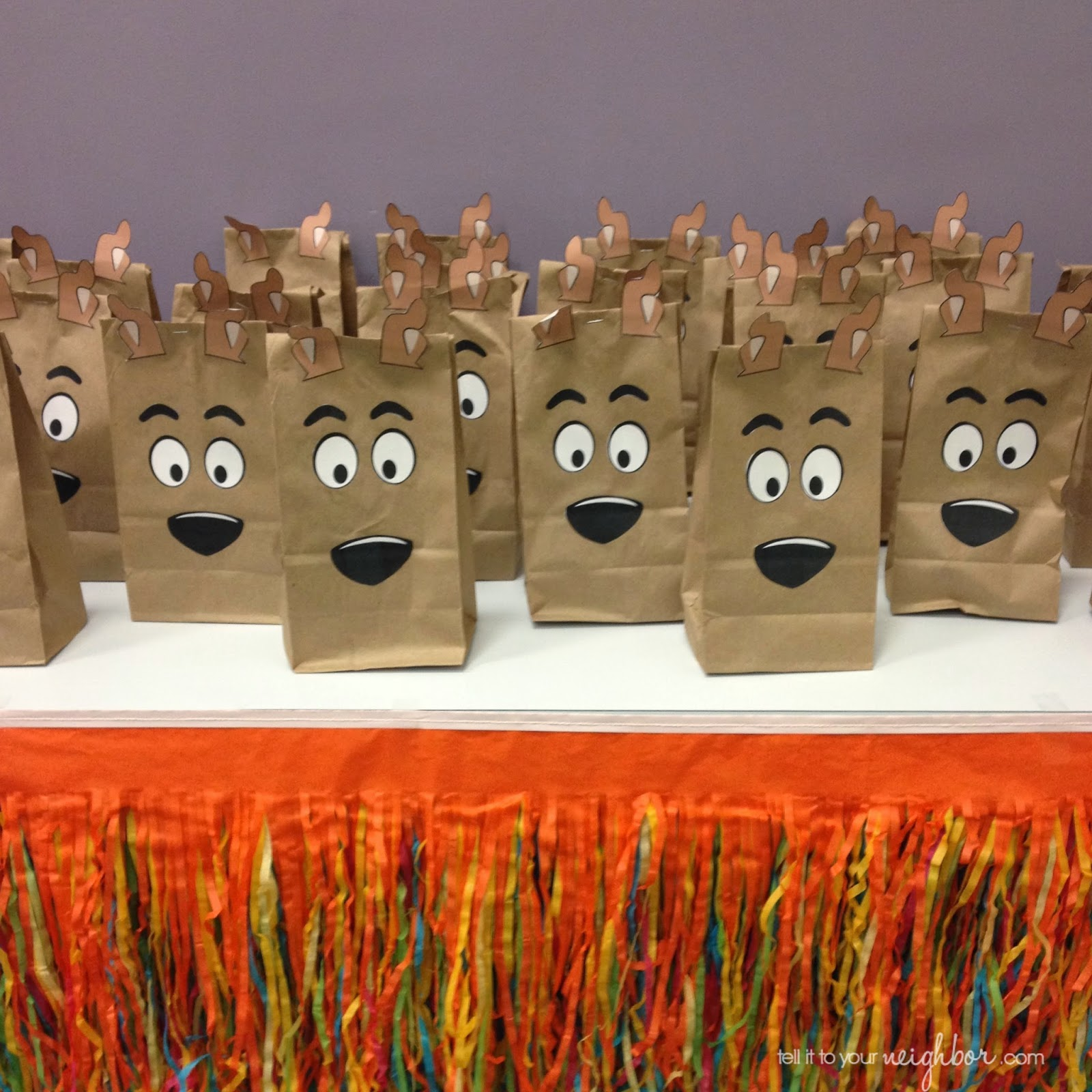 Our Scooby Doo Party Favors The Bag Is A Lunch Sack And Made Out Of Stickers We Cut Ourselves Lot Work But Worth It