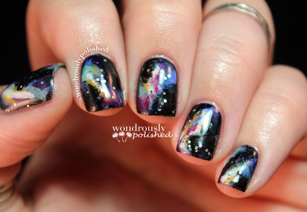 Wondrously Polished: April Nail Art Challenge - Galaxy Nails