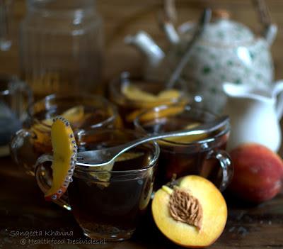peach and basil seeds iced tea