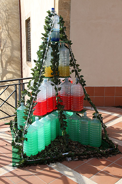 bizarre christmas tree mountain dew, water container