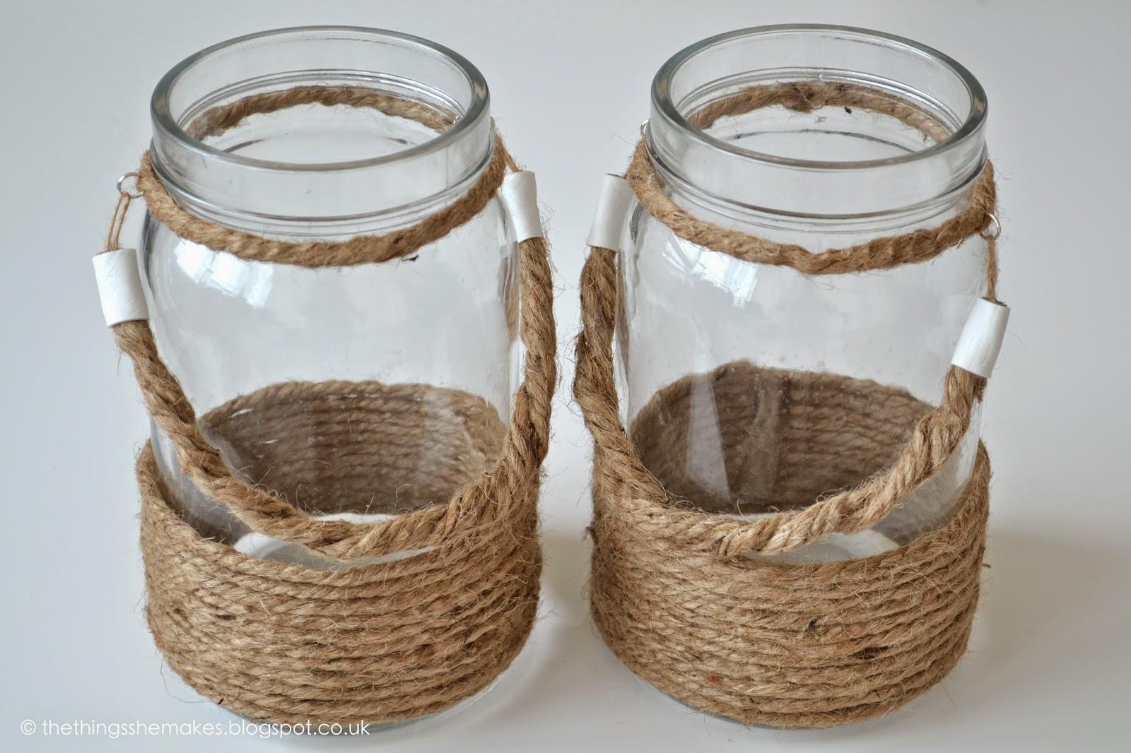 Rope jar lanterns the things she makes - Vintage weihnachtsdeko ...