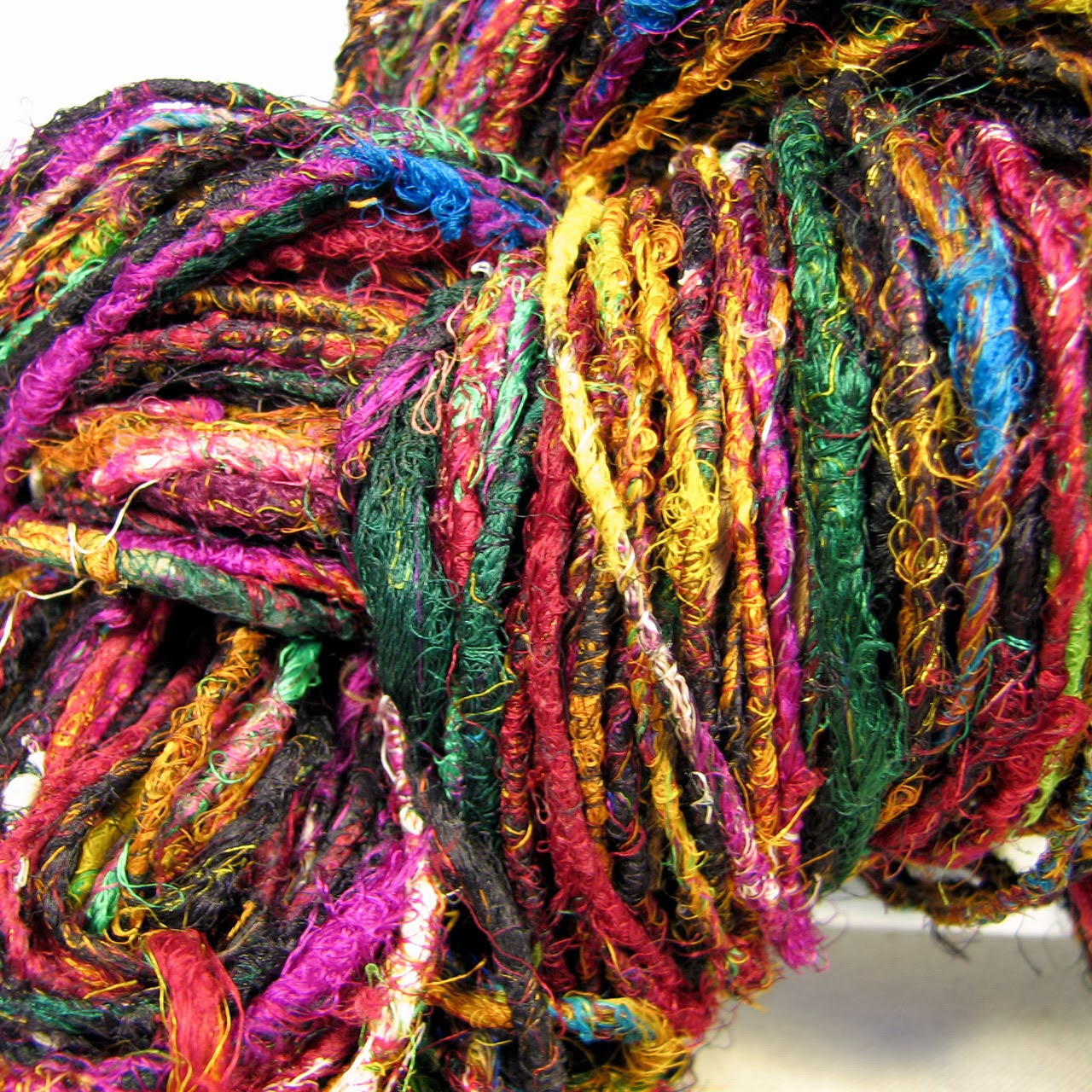 Spun Recycled Sari Silk Yarn by Sanjo Silk