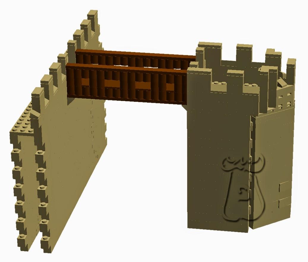 Ejemplo 1: Torre albarrana, pentagonal en proa, unida a la muralla principal mediante pasarela de madera.
