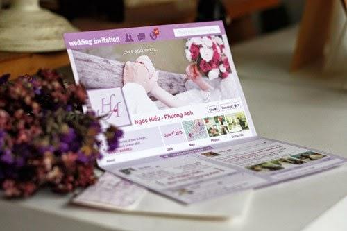 Mẫu thiệp cưới facebook màu hồng của cặp đôi Ngọc Hiếu - Phương Anh