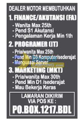 Lowongan Kerja Programmer, Accounting, Marketing di Lampung