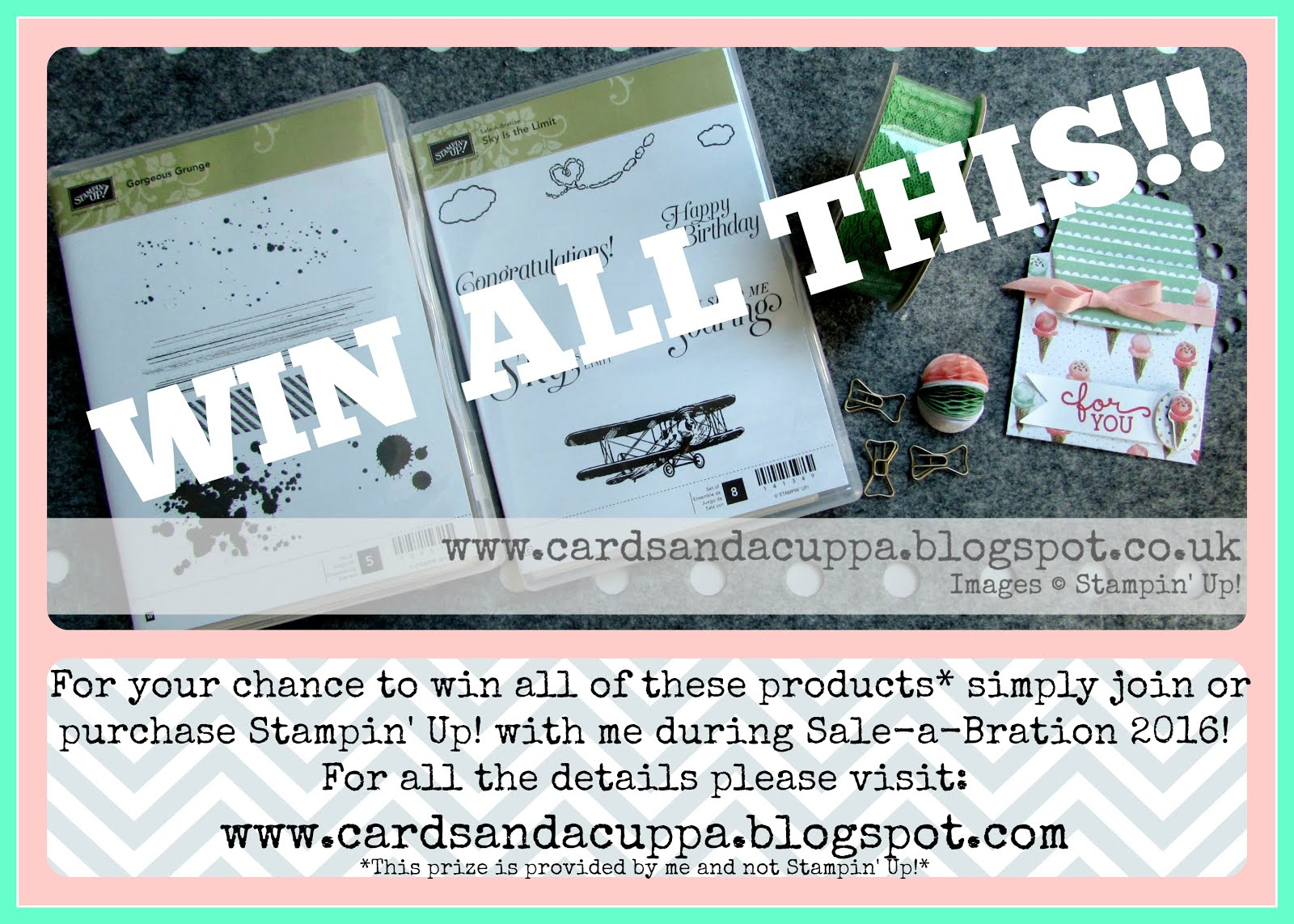 Sale-a-Bration 2016 Prize Draw when you buy Stampin' Up! with Cards and a Cuppa