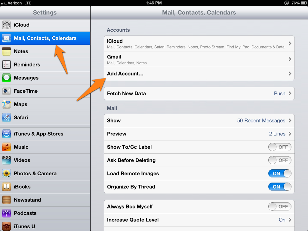 Ipad Mail Contacts Calendars Mail Contacts Calendars