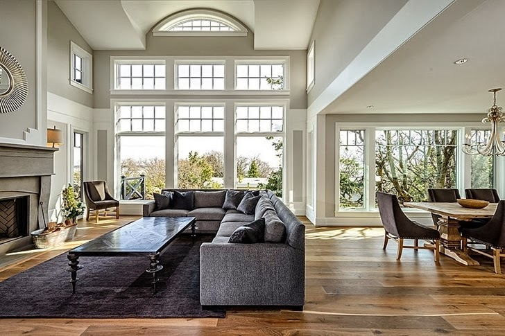 Living room windows in Stunning Canadian beach home