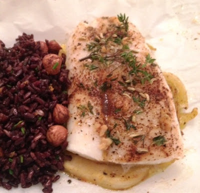 cod fish+fennel+citrus+wild rice