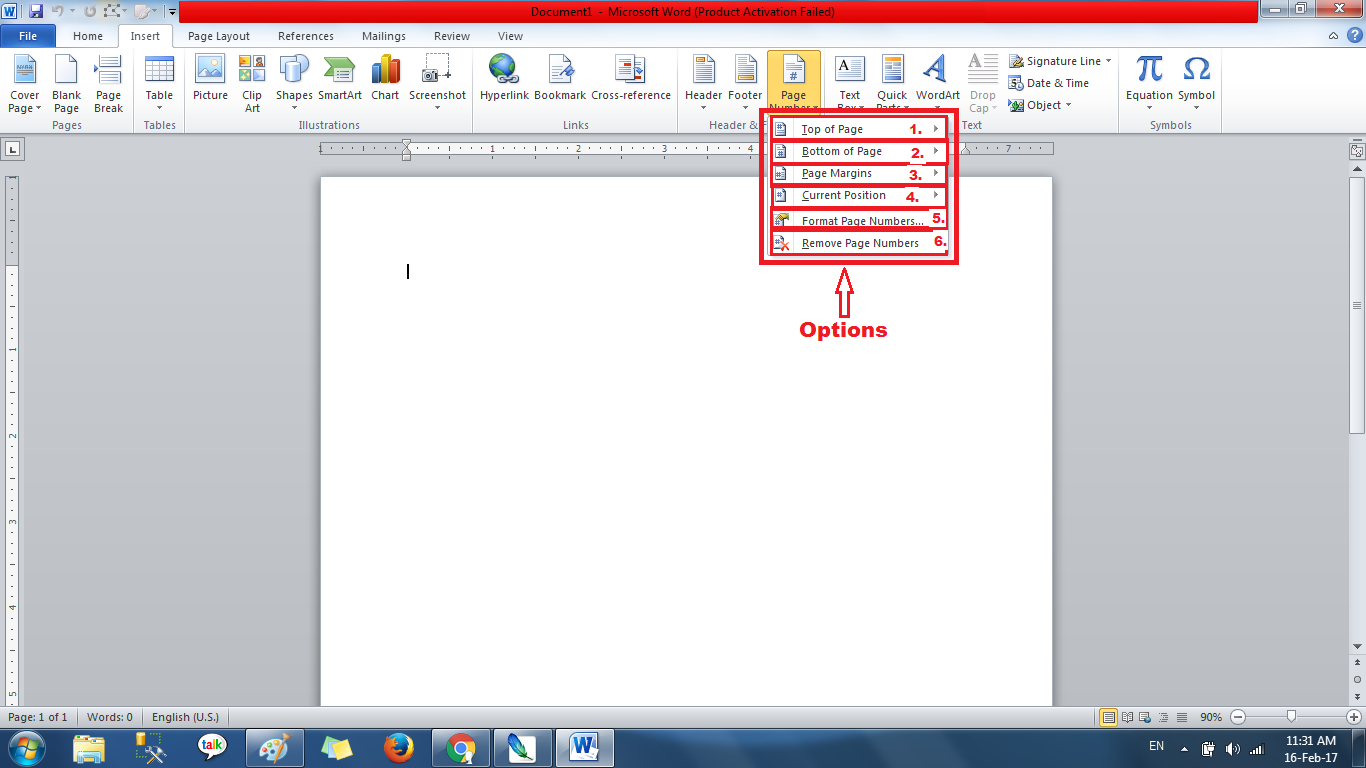 In Word Youtube How To Add A Page Number To A Header Page Number Click Drop