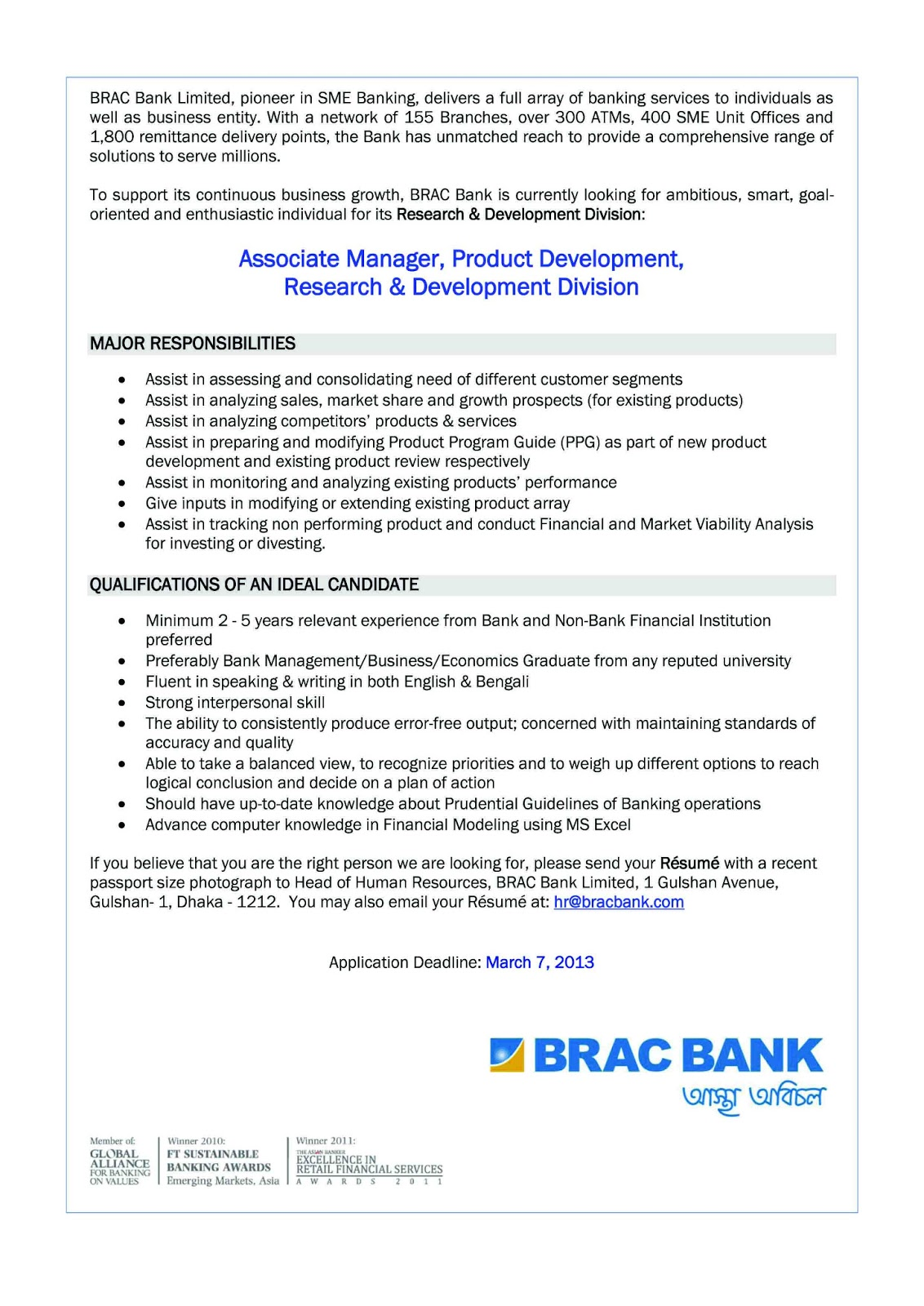 training and development of brac bank Here is the report on assessment of training needs at brac bank providing employees with training and development opportunities not only contribute to the.