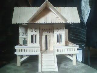 Gambar Rumah Sederhana Dari Stick Es Krim Miniatur Rumah Kampung 39