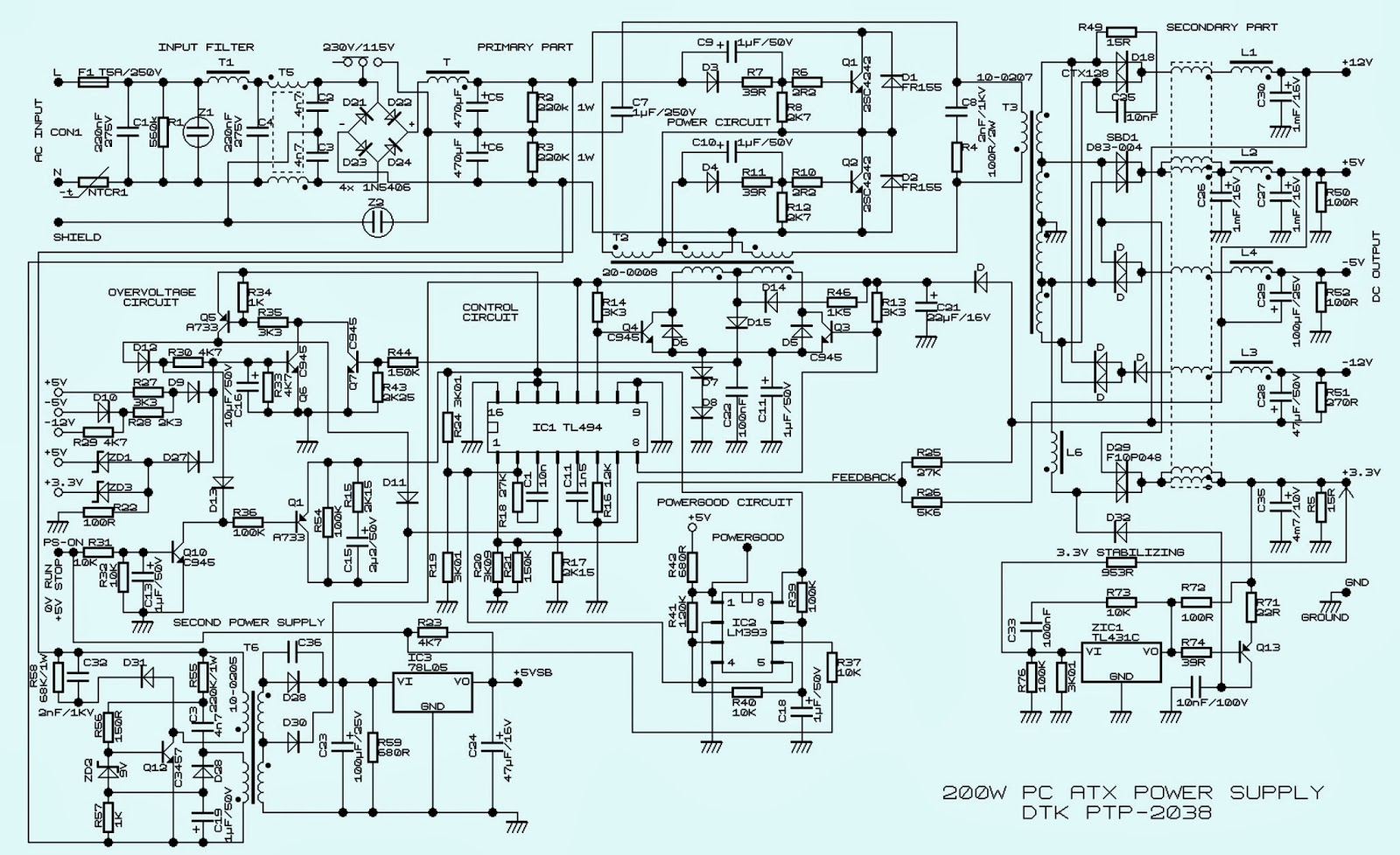 w atx power supply computer schematic circuit diagram 200w atx power supply computer schematic circuit diagram dtk ptp 2038 tl494