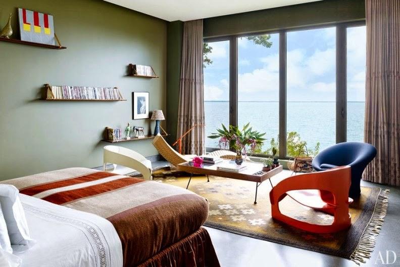 dormitorio vintage con vistas