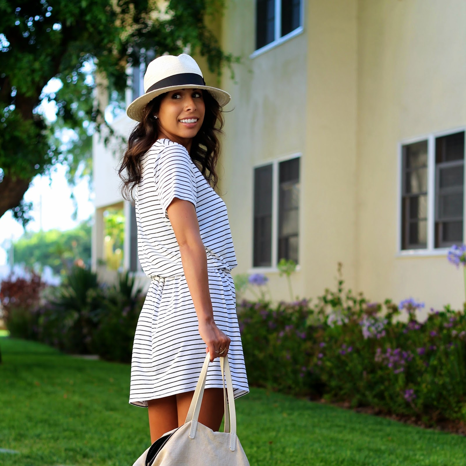 target style, striped dress, summer outfit ideas, beach outfit, panama hat, jcrew