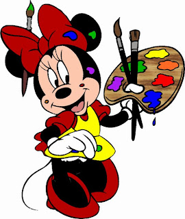 Alfabeto de Minnie Mouse pintando imagen.
