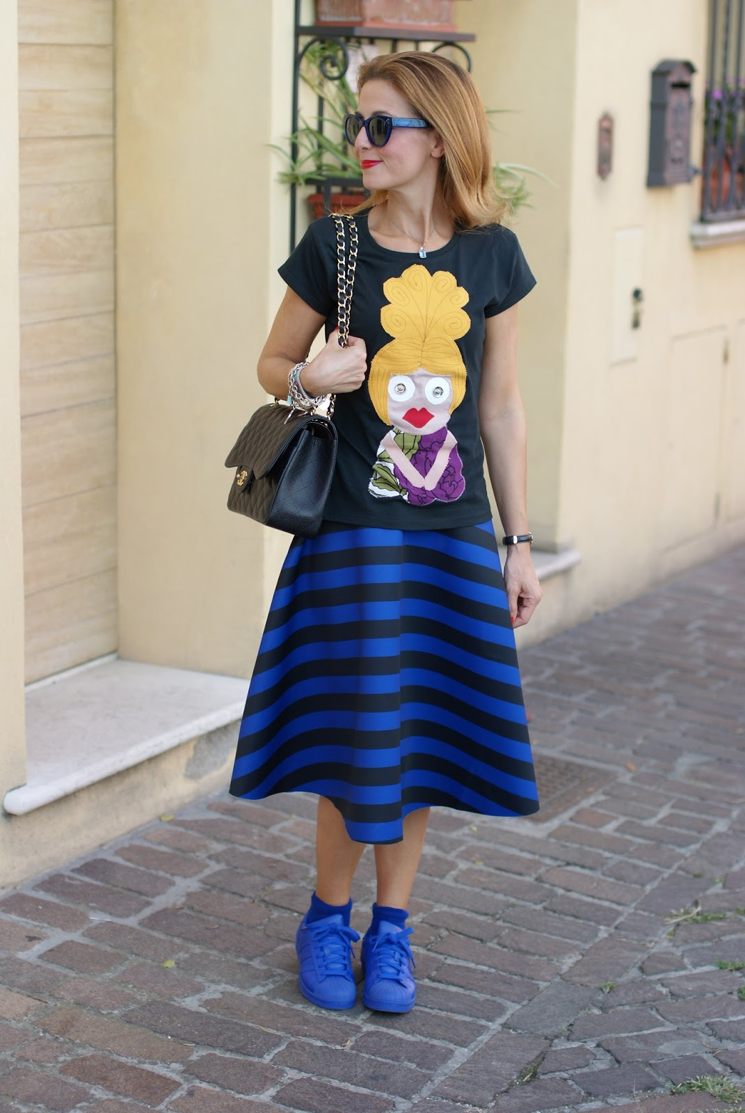 Choies striped midi skirt on Fashion and Cookies fashion blog, fashion blogger style