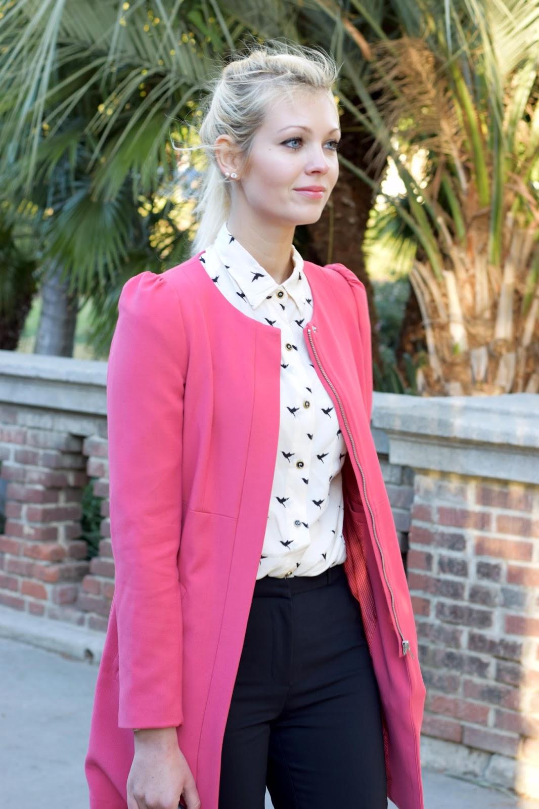 Pink coat, H&M coat, office attire, office, slim fit pants, bird shirt, classy, elegant, work