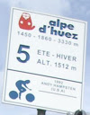 Andy Hampsten's name is on Sign #5 of 21 signs on Alpe d'Huez
