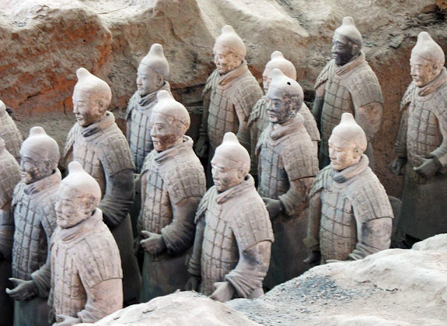 close ups of the terracotta soldiers in China