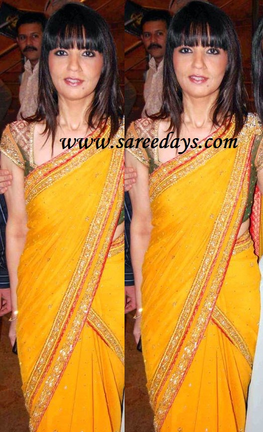 latest saree designs neeta lulla in yellow designer saree