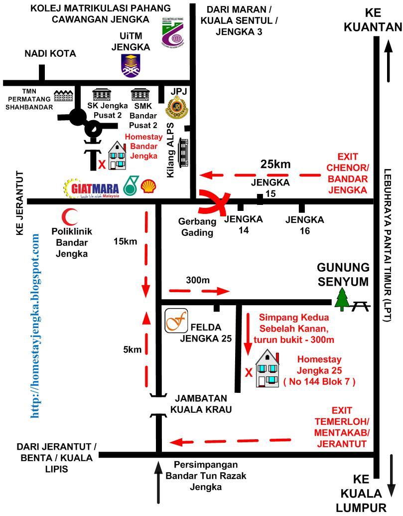 Peta Homestay Jengka Pahang