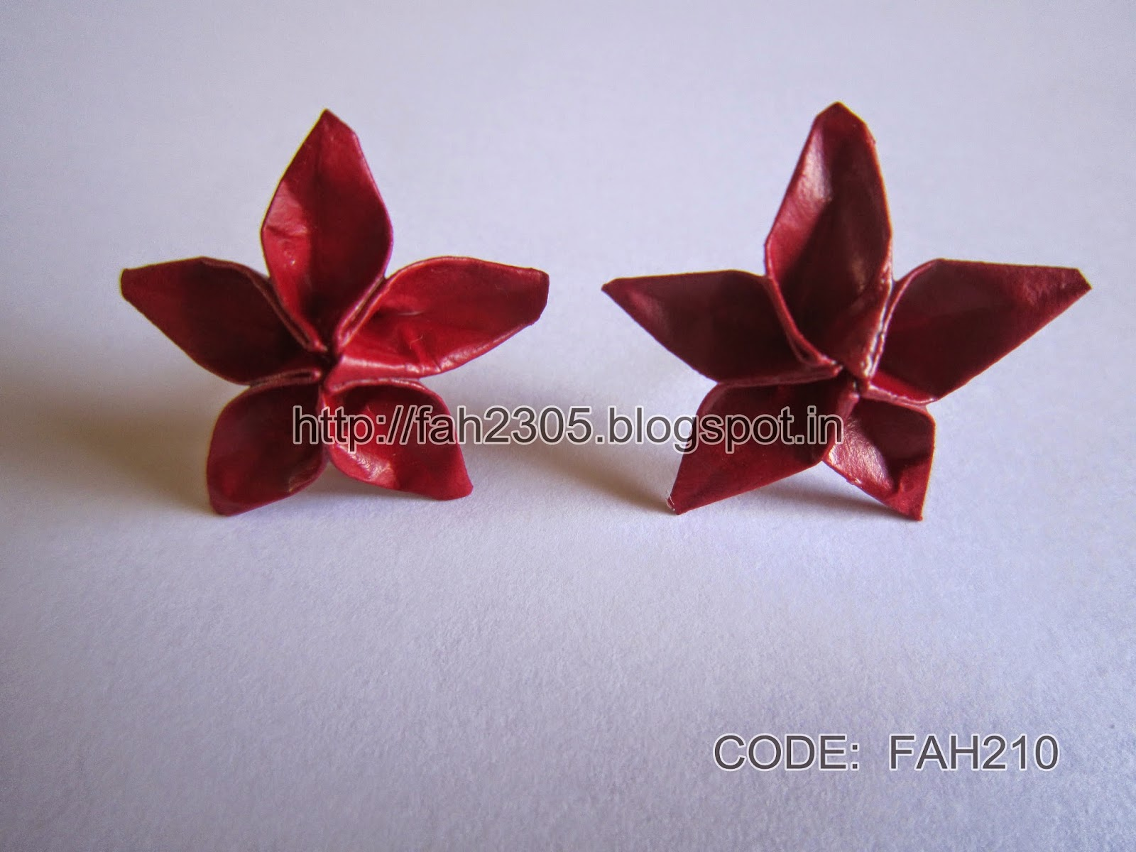 Fah creations origami five petals flower earring stud code fah210 this is an origami creation some stud are made with one piece of paper others are modular origami mightylinksfo